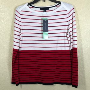 Tommy Hilfiger Sweater NWT Red White M Petite